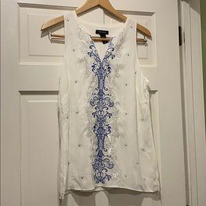 White House black market blue/white blouse small